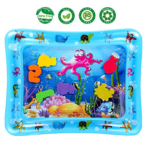 (Psampa Tummy Time Water Mat Playmat  Infants & Toddlers The Perfect Fun Time Play Inflatable Water Mat, Tummy Time Mat Fun and Colorful, Promote Baby's Visual Stimulation Growth (22