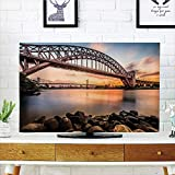 iPrint LCD TV dust Cover,Landscape,Sunset Evening View Picture Hell Gate and Triboro Bridge Astoria Queens America,Brown Blue,3D Print Design Compatible 50'/52' TV