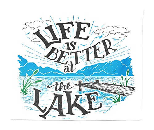Lunarable Cabin Tapestry King Size, Life is Better at The Lake Wooden Pier Plants Mountains Sketch Art, Wall Hanging Bedspread Bed Cover Wall Decor, 104