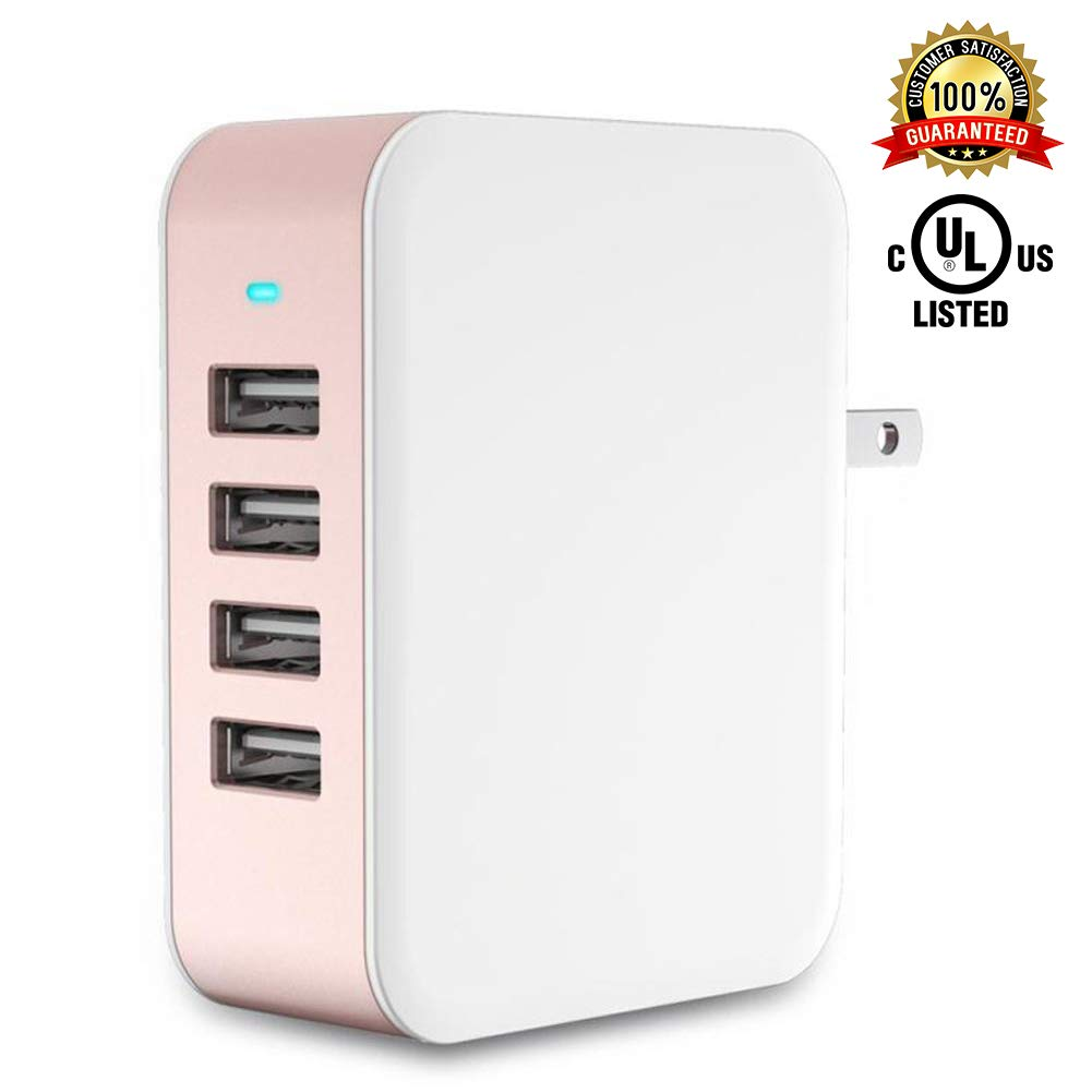 USB Wall Charger Power Adapter 4-Port USB 24W Travel Charger Adapter with Foldable Plug Multi Device Smart Charging-Compatible with iPhone, iPad, Samsung, Galaxy (Rose Gold)