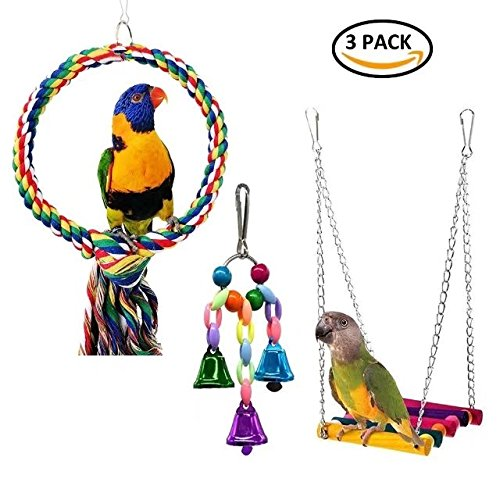kaixinlong Bird Swing Toys,Bird Hammock Ladder,Small Bell,Wooden Bird Cage Hammock Swing Toy for Cockatiels, Budgie, Conures, Macaws, Parrots, Love Birds, Finches(3 Pack) Small Bell, Wooden Bird Cage Hammock Swing Toy for Cockatiels