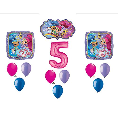 13pc 5th Birthday Shimmer and Shine Balloons Mylar Latex Party Decorations-New from Unbranded