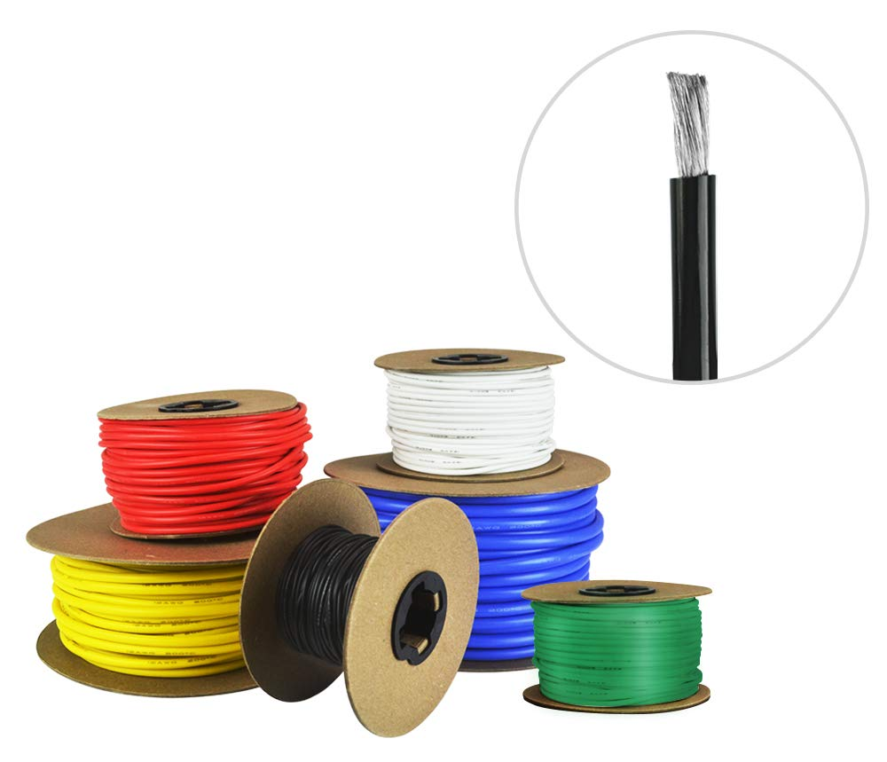 10 AWG Gauge Silicone Wire - Fine Strand Tinned Copper - 50 Feet Black by Common Sense Wire