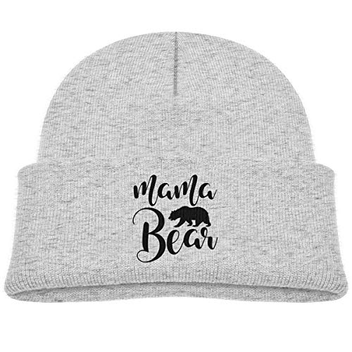 Mama Bear Kid Knitted Beanies Hat Boys Girls Winter Hat Knitted Skull Cap Gray -