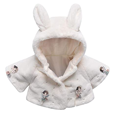 Cute Baby Kid Infant Girl Fur Hooded Winter Warm Coat Cloak Jacket Thick Clothes