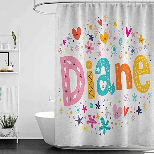Shower Curtains for Bathroom White and Gray Diane,Festive Arrangement of Letters Baby Girl Name with Geometric Shapes Circles Rhombuses, Multicolor W69 x L72,Shower Curtain for Women (Best Arabic Names For Girl Baby)