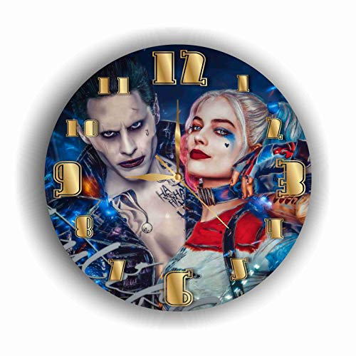 Art time design studio Harley Quinn and Joker Quiet Sweep Movement Wall Clock Decorative Battery Operated 11,8 Inch  for Devoted Fans of DC Comics.