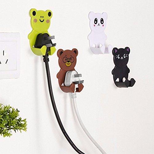 4pcs/pack Plastic Cartoon Animal Plug Socket Hanger Wall Adhesive Cute Hooks (Random) by Jalaya