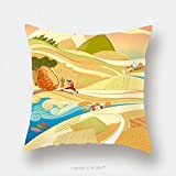 Custom Satin Pillowcase Protector Fairy Tale Landscape With Cultivated Fields And Boy 616162031 Pillow Case Covers Decorative