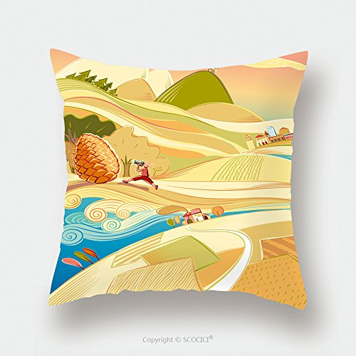 Custom Satin Pillowcase Protector Fairy Tale Landscape With Cultivated Fields And Boy 616162031 Pillow Case Covers Decorative by chaoran