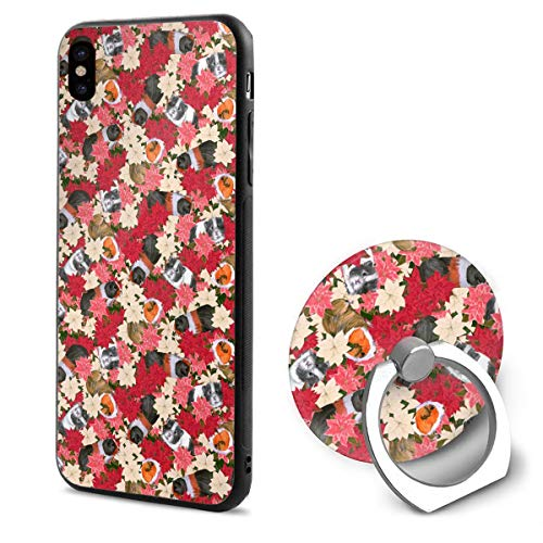 Guinea Pigs Trying to Hide in Poinsettia iPhone X Case iPhone 10 Case Scratch Proof Suitable 5.8 Inches ()