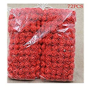 Idomeo 72 Pcs Foam Artificial Flowers Fake Rose Bouquet DIY Wedding Party Home Decoration Artificial Flowers 105