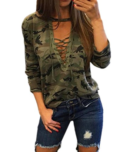 (Qisc Tops for Women, Deep V Neck Lace Up Camouflage Print Blouses T shirt Pullover Long/Short Sleeves (Army Green, L))