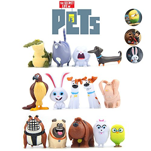 Secret Life of Pets Movie Deluxe 14 pc. Figures - Set of 3 colorful Pet Buttons