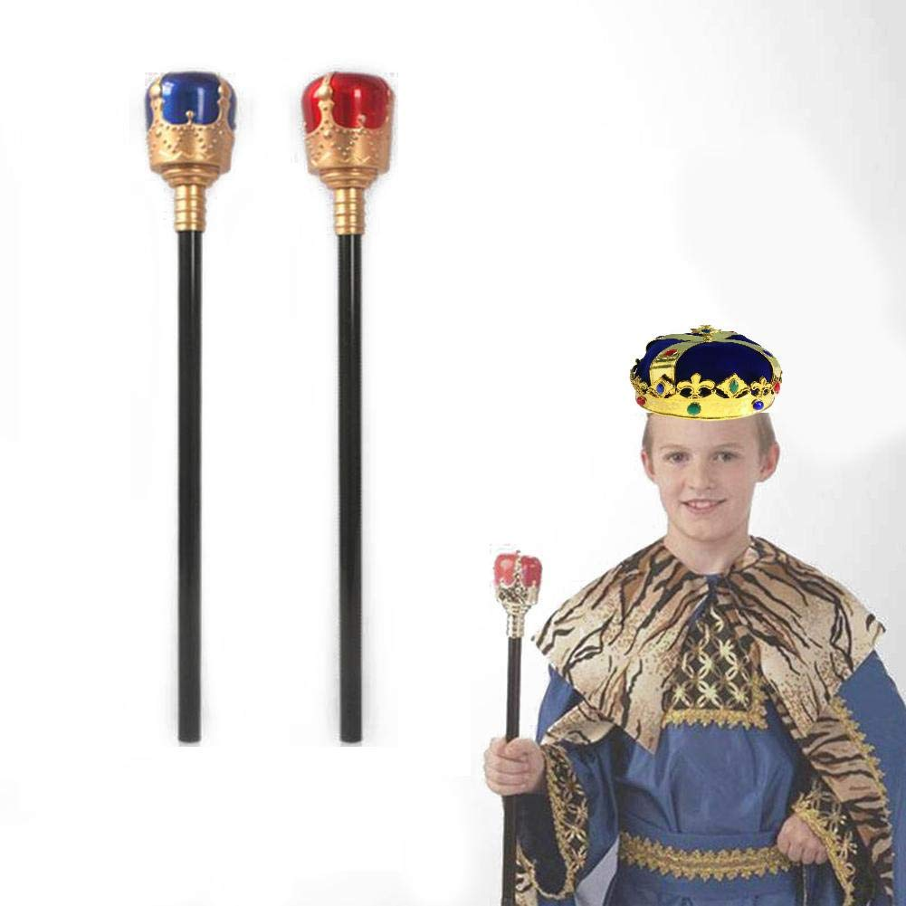 Liteness Bambini Ragazzi Re medievali Reali Corona e scettro Giocattoli Set Halloween Stage Show Decorazione in Maschera Puntelli Cosplay
