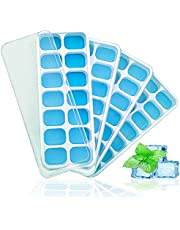 KANOOPA Ice Cube Trays with Lids 4 Pack – 56 Ice Molds, BPA Free, Flexible Silicone, Easy Release Ice Cube Tray for freezer with Spill-Resistant Removable Lid, Better Sealing, Dishwasher Safe, Stackable Ice Trays with Covers for Cocktail and Chilled Drinks (Pack of 4)