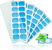 KANOOPA Ice Cube Trays with Lids 4 Pack – 56 Ice Molds, BPA Free, Flexible Silicone, Easy Release Ice Cube Tra