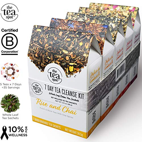 THE TEA SPOT, 7-Day Tea Cleanse Kit | 35 pyramid tea bags | 7 count of 5 variety pack: Black Chai, Citrus Green, Flat Belly Hibiscus, Herbal Coffee, Herbal Sleepy Tea | Net Tea wt.: 3.5 oz For Sale