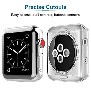 Marge Plus【2 Pack Compatible with Apple Watch Screen Protector with Case 42mm, Soft TPU All-Around Ultra-Thin Clear Cover Compatible with Apple Watch Case Series 3, Series 2