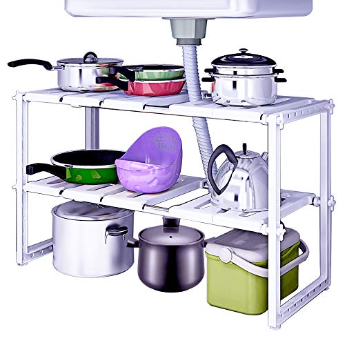 WEBI Under Sink Organizer:2 Tiers,Expandable,Adjustable Shelf Organizer, Bathroom Kitchen Shelf Rack for Pots,Pans,Cleaner,Stainless Steel Cabinet Organizer by WEBI