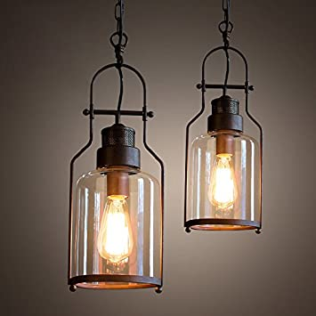 Industrial 1 Light Rust Metal Glass Lantern Pendant Light Ceiling Lamp  Fixture