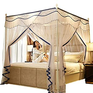 Princess 3 Side Aperture Messaggio letto a baldacchino cortina di zanzariere Net Biancheria da letto, 4 angolo Messaggio… 11 spesavip