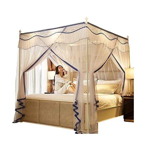 Princess 3 Side Aperture Messaggio letto a baldacchino cortina di zanzariere Net Biancheria da letto, 4 angolo Messaggio… 1 spesavip
