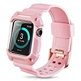 Product review for Apple Watch Band 38mm Protective Case,Youkex Replacement Straps with Rugged Shock-proof Case Cover for iWatch Series 1 Series 2 and Sport Edition (Pink/White)