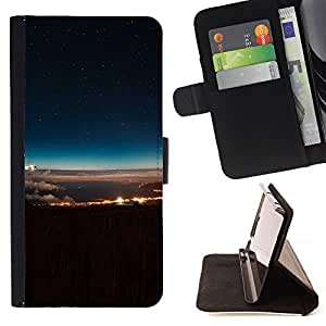 BullDog Case - FOR/Sony Xperia M2 / - / Space And Clouds /- Monedero de cuero de la PU Llevar cubierta de la caja con el ID Credit Card Slots Flip funda de cuer