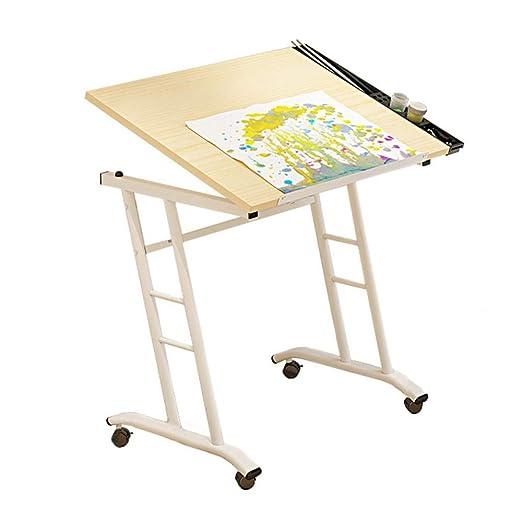 Mesa de dibujo móvil, escritorio de dibujo con 4 ruedas ...
