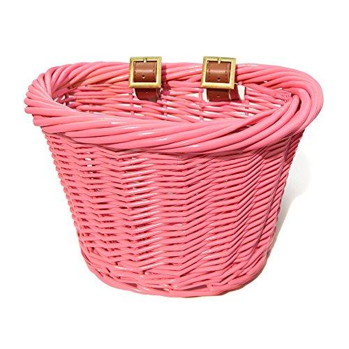 Colorbasket 01464 Junior Front Handlebar All Wicker Bike Basket, Water Resistant, Hand Woven, Adjustable Leather Straps, Pink