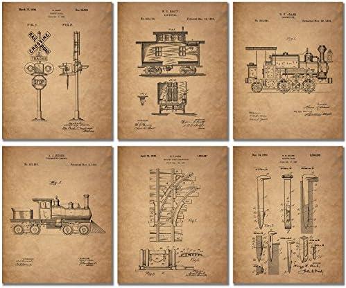 Railroad Train Patent Prints – Set of 6 (8 inches x 10 inches) Photos Locomotive Railway