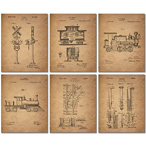 Railroad Train Patent Prints - Set of 6 (8 inches x 10 inches) Photos Locomotive Railway]()