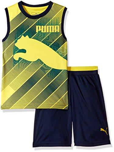 Puma Short Set (PUMA Little Boys' 2 Piece Short and Muscle Set, Deep navy2, 6)