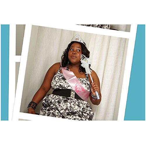 Amber Riley 8 Inch x 10 Inch PHOTOGRAPH Glee (TV Series 2009 - 2015) Wearing Pink Sash Eyes Looking Left kn