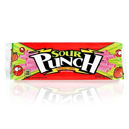 Candy Sour Punch Straws - Sour Punch Strawberry Sour Straws, 4.5oz Tray (12 Pack)