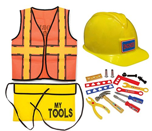 Construction Worker Role Play Dress Up Set (15 Pieces)