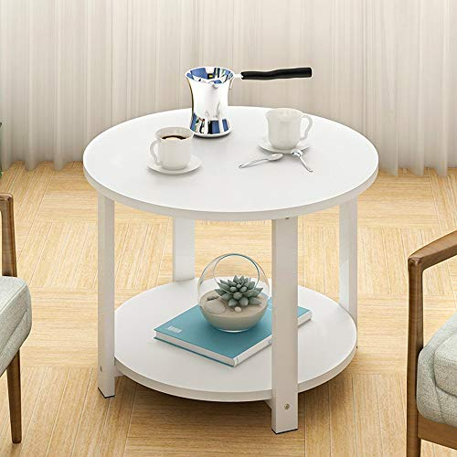 Solid Wood Round Side Table, VECDUO Double Layer Living Room Sofa Table Coffee Table Bedroom Night Table Telephone Table, 23.7 x 23.7 x 17.0 inches