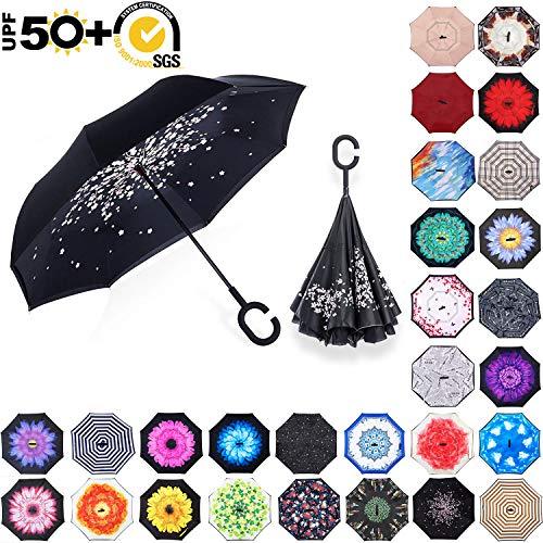 ABCCANOPY Inverted Umbrella,Double Layer Reverse Rain&Wind Teflon Repellent Umbrella for Car and Outdoor Use, Windproof UPF 50+ Big Straight Umbrella with C-Shaped Handle, Peach ()