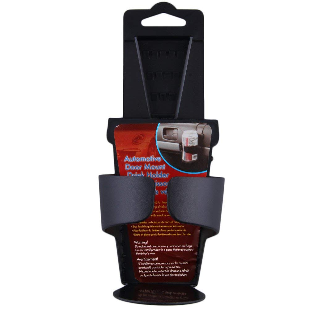 Black Universal Vehicle Car Truck Door Mount Drink Bottle Cup Holder Stand