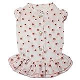 TONY HOBY Pet Dog Chiffon Dress Floral Pattern Dog Linen Princess Dress Skirts with Cute Buttons