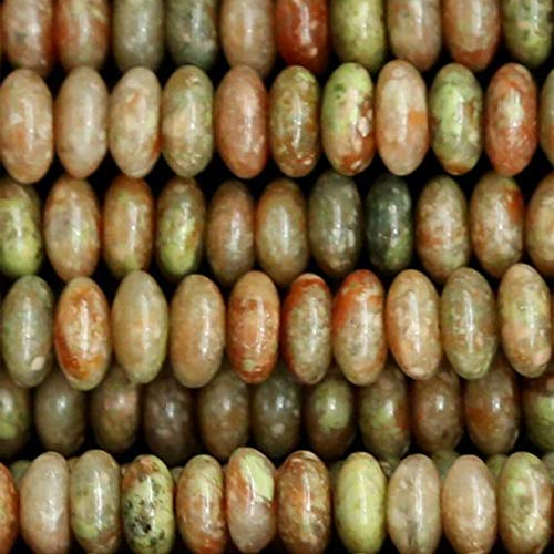 (GemAbyss Beads Gemstone 1 Strands Natural Pink Green Autumn Jasper Rondelle Loose Beads Fit Jewelry Necklace Bracelets 4x8mm 15 Inch Long 03286 Code-MVG-23237)