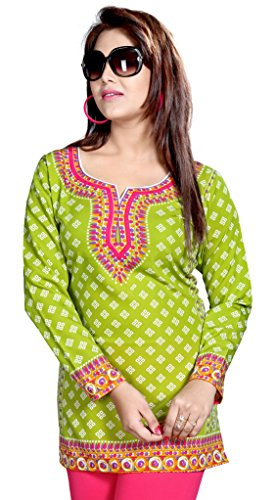 Maple Clothing Womens Printed Short Kurti Tunic Top Blouse Indian Clothes – S…Bust 34 inches, Green 1