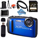 Fujifilm FinePix XP90 Digital Camera (Blue) 16500076 + Sony 64GB SDXC Card + Fujifilm XP Series Digital Camera Standard Accessory Kit + Memory Card Wallet + Fibercloth + Micro HDMI Cable Bundle