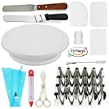 : Cake Decorating Supplies VIPorama 35 Cake Turntable Stand,2 Icing & Angled Spatula,24 Stainless Steel Tips,1 Pastry Bag,1 Cake Tip Brush,1 Cake Flower Lifter,1 Cake Pen,3 Cake Scrapers 1 Coupler