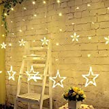 LED Star String Lights, Rywell Indoor Outdoor 6.6ft 12 Stars 138 LED Warm White LED Curtain Lights for Christmas Holiday Valentine's Day Wedding Parties Home Decorations, UL588 Certification