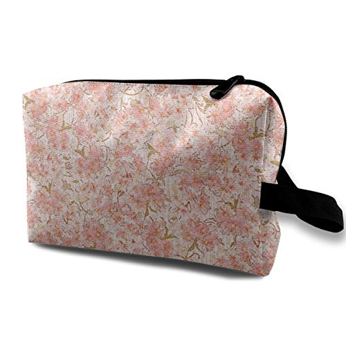Blossoms-peach-pink Blush_2273 Travel Carry Cosmetic Make Up Organizer Digital Accessories Women Blue Flowers