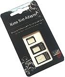 3 en 1 adattatore Nano SIM (Nano SIM a Micro SIM tarjeta Micro SIM para tarjeta estándar Nano SIM a la tarjeta estándar) Kit adaptador para el iPhone 5 / iPhone 4 y 4S (Negro)