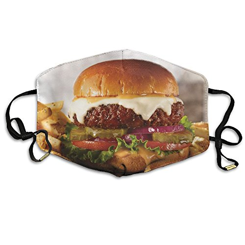 (KZ MASKS Unisex Bag Cheeseburger Lunch Printed Cotton Mouth-Masks Face Mask Polyester Anti-dust Masks)