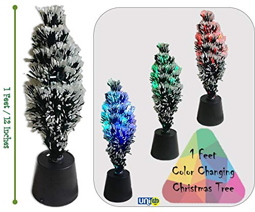 Selling Uniqness UNIq 1 ft Mini Flocked Christmas Trees with Inbuilt LED Lights (Changes from White to Multicolor) Small Christmas Tree Tabletop Christmas Tree Desktop Table Xmas Decorations Décor (1 Foot)